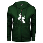 ENZA Ladies Dark Green Fleece Full Zip Hoodie-Skates