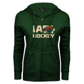 ENZA Ladies Dark Green Fleece Full Zip Hoodie-IA Hockey w State