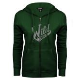 ENZA Ladies Dark Green Fleece Full Zip Hoodie-Primary Mark Silver Soft Glitter