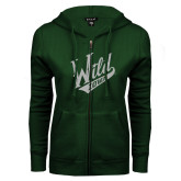 ENZA Ladies Dark Green Fleece Full Zip Hoodie-Primary Mark White Soft Glitter