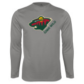 Performance Platinum Longsleeve Shirt-Iowa Wild w Bear Head