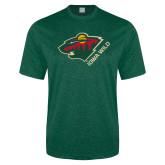 Performance Dark Green Heather Contender Tee-Iowa Wild w Bear Head