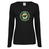 Ladies Black Long Sleeve V Neck Tee-Secondary Mark