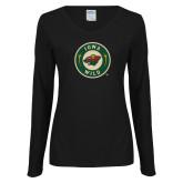 Ladies Black Long Sleeve V Neck T Shirt-Secondary Mark