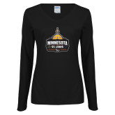 Ladies Black Long Sleeve V Neck Tee-Minnesota vs St Louis