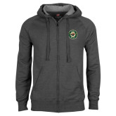 Charcoal Fleece Full Zip Hoodie-Iowa Wild Distressed Circle Logo