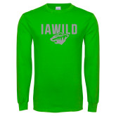 Lime Green Long Sleeve T Shirt-IAWILD w Bear Head