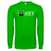 Lime Green Long Sleeve T Shirt-IA WILD HKY Tone