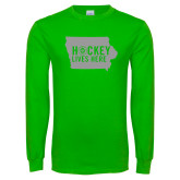 Lime Green Long Sleeve T Shirt-Hockey Lives Here State - One Color
