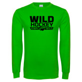 Lime Green Long Sleeve T Shirt-Wild Hockey Banner - One Color