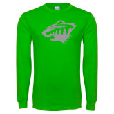 Lime Green Long Sleeve T Shirt-Bear Head - One Color