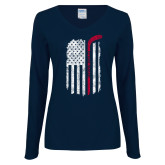 Ladies Navy Long Sleeve V Neck Tee-Veterans Appreciation
