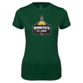 Ladies Performance Dark Green Tee-Minnesota vs St Louis