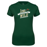 Ladies Performance Dark Green Tee-Iowa Wild Banner Design