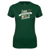 Ladies Performance Dark Green Tee-Iowa Wild Banner Design