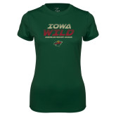Ladies Performance Dark Green Tee-Iowa Wild Lined Design