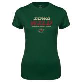 Ladies Performance Dark Green Tee-Iowa Wild Lined Design