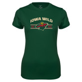 Ladies Performance Dark Green Tee-Iowa Wild Arched