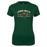 Ladies Performance Dark Green Tee-Iowa Wild Arched