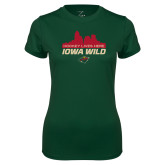 Ladies Performance Dark Green Tee-Hockey Lives Here Cityscape