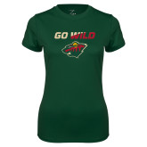 Ladies Performance Dark Green Tee-Go Wild