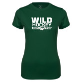 Ladies Performance Dark Green Tee-Wild Hockey