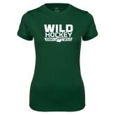 Ladies Performance Dark Green Tee-Wild Hockey