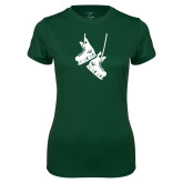Ladies Performance Dark Green Tee-Skates