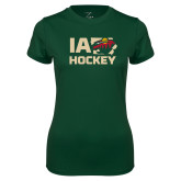 Ladies Performance Dark Green Tee-IA Hockey w State