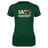 Ladies Performance Dark Green Tee-IA Hockey w State