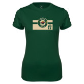 Ladies Performance Dark Green Tee-Iowa Wild Block Design