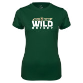 Ladies Performance Dark Green Tee-Wild Hockey Banner