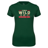 Ladies Performance Dark Green Tee-Iowa Wild 3 Marks Design