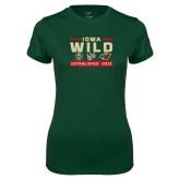 Ladies Performance Dark Green Tee-Iowa Wild 3 Marks Design