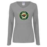 Ladies Grey Long Sleeve V Neck Tee-Secondary Mark