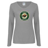 Ladies Grey Long Sleeve V Neck T Shirt-Secondary Mark