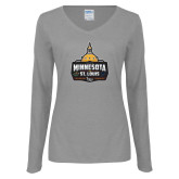 Ladies Grey Long Sleeve V Neck Tee-Minnesota vs St Louis