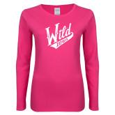 Ladies Fuchsia Long Sleeve T Shirt-Primary Mark