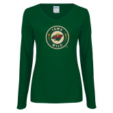 Ladies Dark Green Long Sleeve V Neck Tee-Secondary Mark