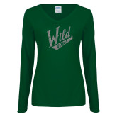Ladies Dark Green Long Sleeve V Neck Tee-Primary Mark Silver Soft Glitter