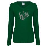 Ladies Dark Green Long Sleeve V Neck T Shirt-Primary Mark Silver Soft Glitter