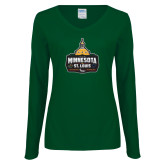Ladies Dark Green Long Sleeve V Neck Tee-Minnesota vs St Louis