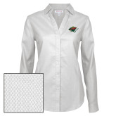 Ladies Red House Diamond Dobby White Long Sleeve Shirt-Iowa Wild w Bear Head