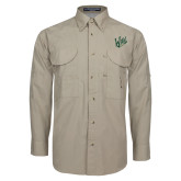 Khaki Long Sleeve Performance Fishing Shirt-Primary Mark