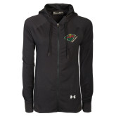 Ladies Under Armour Black Varsity Full Zip Hoodie-Iowa Wild w Bear Head