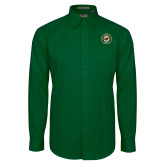 Dark Green Twill Button Down Long Sleeve-Secondary Mark