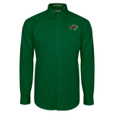 Dark Green Twill Button Down Long Sleeve-Iowa Wild w Bear Head