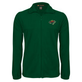 Fleece Full Zip Dark Green Jacket-Iowa Wild w Bear Head