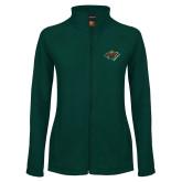 Ladies Fleece Full Zip Dark Green Jacket-Iowa Wild w Bear Head