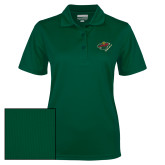 Ladies Dark Green Dry Mesh Polo-Iowa Wild w Bear Head